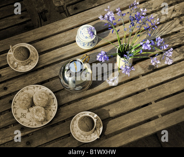 LIFESTYLE: Coffe Table with flowers - Stock-Bilder