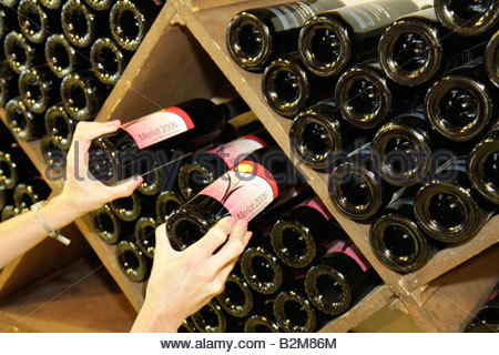 Michigan Fennville Fenn Valley Vineyards and Wine Cellar family owned business wine bottle rack display - Stock Image