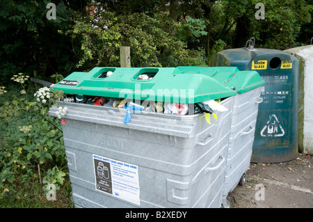 Recycling bins for cans and glass - Stock Image