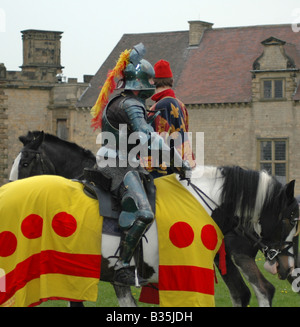 Mounted knight with squire - Stock Image