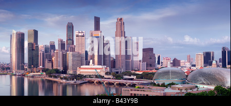 Singapore Skyline viewed at dawn - Stock Image