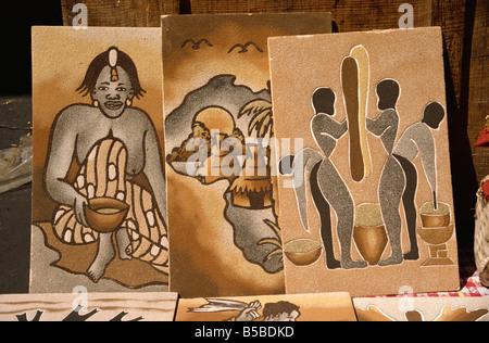 Sand paintings Dakar Senegal West Africa Africa - Stock Image