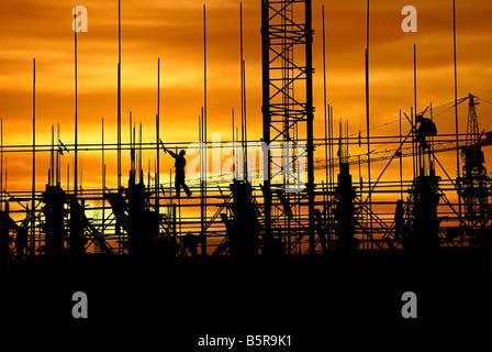 Construction in the dusk - Stock-Bilder
