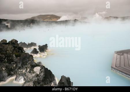Blue lagoon geothermal hot springs - Stock Image
