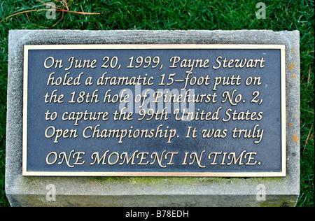 Plaque at Payne Stewart statue Walk of Fame Pinehurst Golf Club North Carolina - Stock Image