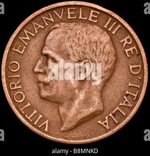 Copper Italian Coin. Vittorio Emanuele III. 10c, 1921. Obverse - Stock Image