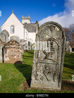 The village church and graveyard at Kenmore, Perth and Kinross, Scotland. - Stock Image