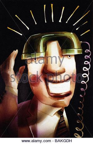 Man with Telephone Receiver - Stock-Bilder