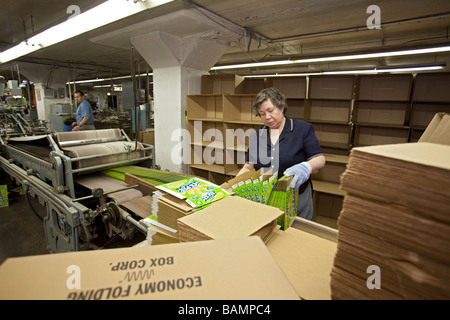 Workers Make Boxes for Retail Products - Stock-Bilder