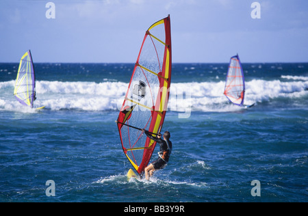 Windsurfing at Hookipa Beach, Paia, Maui Hawaii - Stock Image