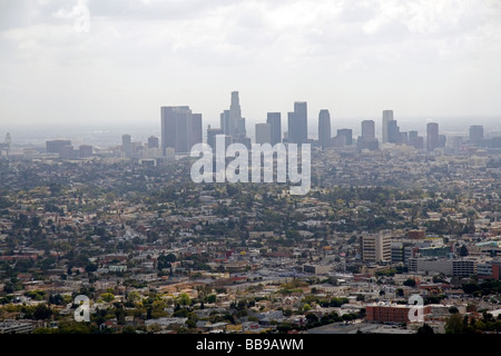 View of Los Angeles and smog from the Griffith Observatory Los Angeles California USA  - Stock-Bilder
