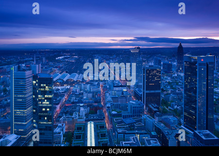 Germany, Hessen, Frankfurt-am-Main, view from the Main Tower, Financial District towers - Stock Image