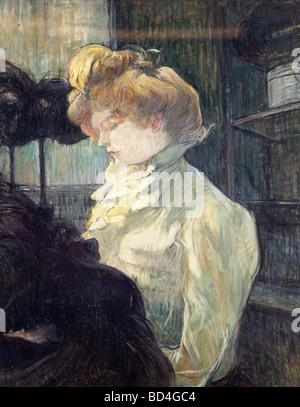 fine arts, Toulouse-Lautrec, Henri de (1864 - 1901), painting, 'La Modiste', 1900, Museum Albi, Europe, - Stock-Bilder