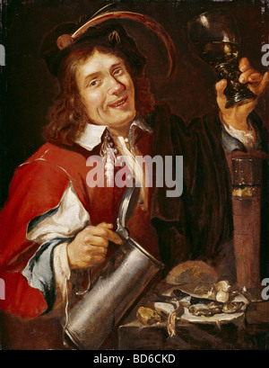 fine arts, Noort, Pieter van (1529 - circa 1650), painting, 'The Taste', series 'The Five Sences', - Stock-Bilder