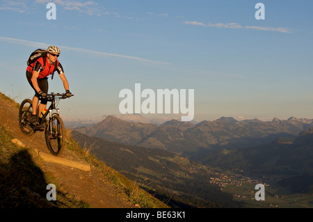 Mountainbiker at Hohe Salve mountain, Tyrol, Austria, Europe - Stock Image