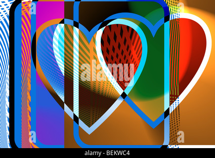 Illustration of colorful heart - Stock Image