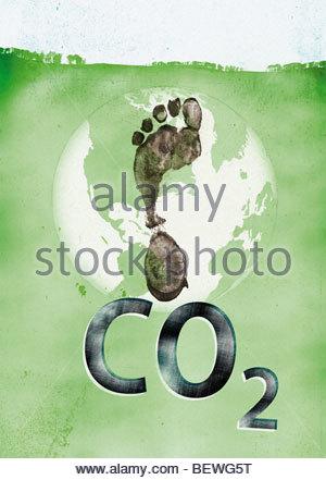 Carbon footprint on globe - Stock Image