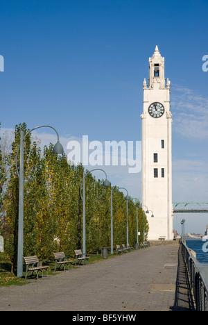 Sailors' Memorial Clock Tower (Tour de l'Horloge) in the Old Port of Montreal. - Stock Image
