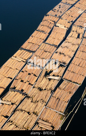 Aerial photo of log booms at the Catalyst Paper Mill, Crofton, Vancouver Island, British Columbia, Canada. - Stock-Bilder