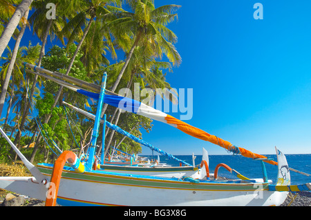 Traditional Indonesian fishing boats at the beach, North coast, Bali, Indonesia, Southeast Asia, Asia - Stock Image
