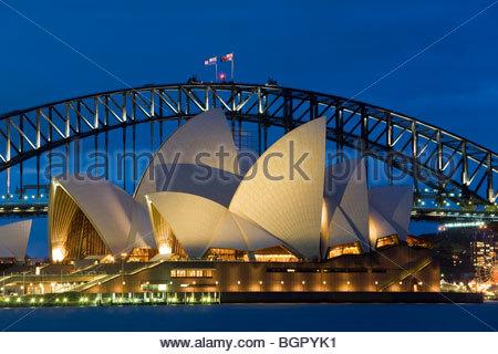 Australia, Sydney, Opera House at dusk - Stock Image