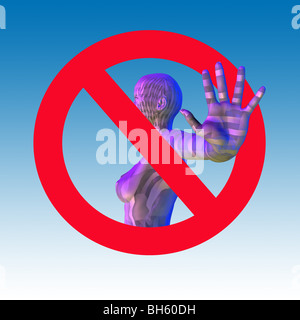 Woman with outstretched hand with a 'no access' sign - Stock-Bilder