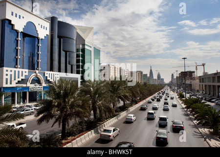 Traffic on busy street Riyadh Saudi Arabia - Stock Image