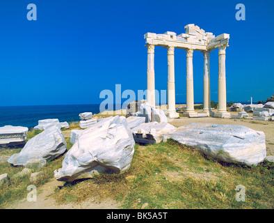 Roman ruins of the Temple of Apollo, Side, Anatalya Province, Anatolia, Turkey, Asia Minor, Eurasia - Stock Image