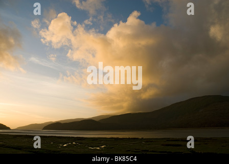 Sunset over the Mawddach Estuary, near Dolgellau, Snowdonia, North Wales, UK - Stock Image
