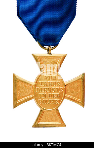 Vintage German Police 18 Year Long Service Award Medal 'Für Treue Dienste in der Polizei', isolated - Stock Image