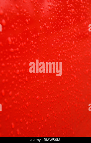Background abstract texture water drops on red - Stock Image