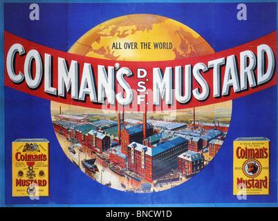 COLMAN'S MUSTARD ADVERTISING POSTER about 1920 - Stock-Bilder
