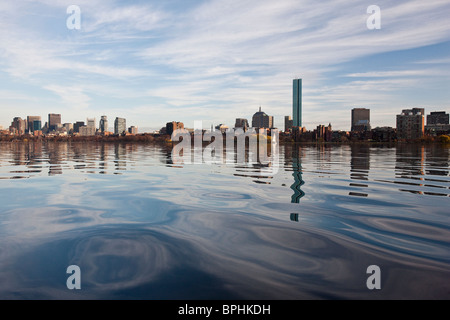 Reflection of buildings in water, Charles River, Boston, Suffolk County, Massachusetts, USA - Stock Image