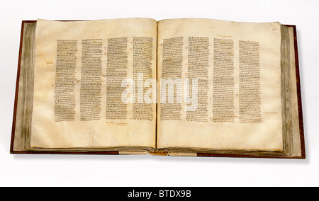 5470. Codex Sinaiticus is a 4th century manuscript of the Greek Bible, written between 330–350. Originally it contained - Stock Image