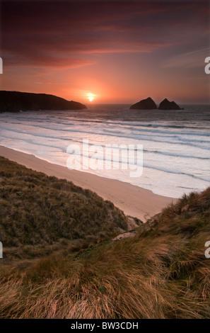 Sunset at Holywell bay near Newquay on the North Cornish coast - Stock Image