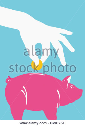 Person putting coin into piggy bank - Stock-Bilder