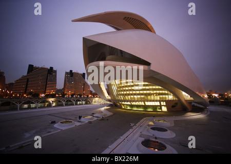 Artes y de read Palau de les Arts Reina Sofía opera music palace at night night Spain Europe Valencia Ciudad - Stock-Bilder