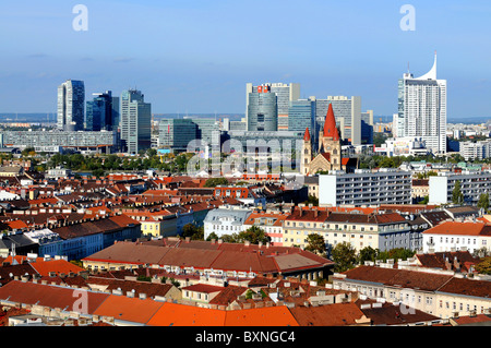 Vienna. Austria, view of the city including The United Nations office complex, Vienna. Austria - Stock Image