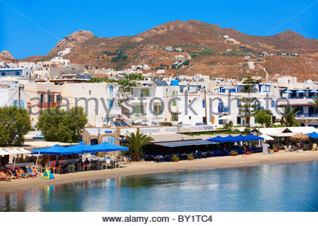 Naxos ( Chora ) town Saint Georges Beach . Greek Cyclades Islands Greece - Stock Image