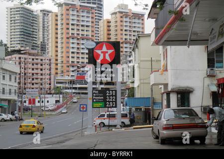 Panama Panama City Bella Vista neighborhood street scene Texaco American oil company logo fuel gasoline gas station - Stock Image