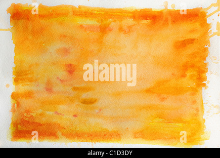 Orange watercolor background over textured paper - Stock-Bilder