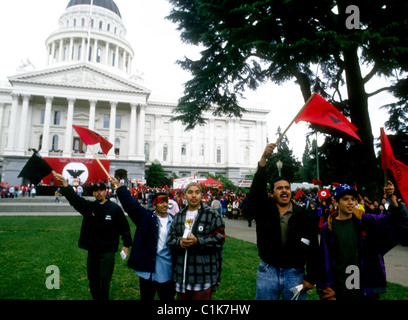 Chicanos and mexican-americans supporting the United Farm Workers wave flags at the California state capitol in - Stock-Bilder