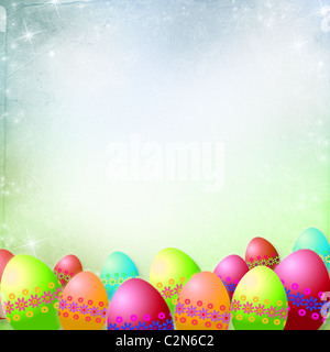 Spring or Easter background with Colorful easter eggs and flowers hanging on ribbons - Stock-Bilder