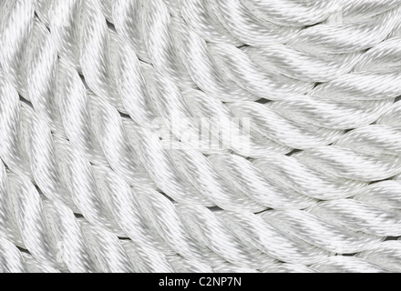 Close-up of a white rope - Stock Image