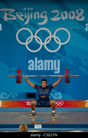 Jose Juan Navarro (ESP) competing in the Weightlifting 94kg class at the 2008 Olympic Summer Games, Beijing, China. - Stock Image