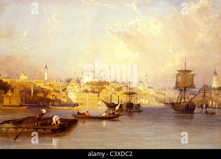 Constantinople: From The Entrance of Golden Horn, by Charles F. Buckley. Constantinople, Turkey, 19th century - Stock-Bilder