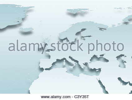 map, Western Europe, political, grey land, grey - Stock Image