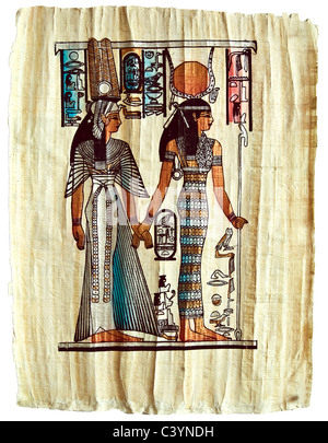 Papyrus with elements of Egyptian ancient history - Stock-Bilder