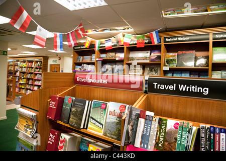 Travel books ection, Waterstones bookstore, truro Cornwall UK - Stock-Bilder