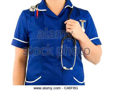Nurse wearing blue uniform - Stock Image